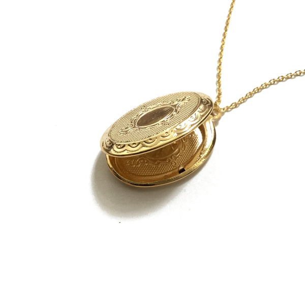 Oval Floral Gold Plated Locket Necklace