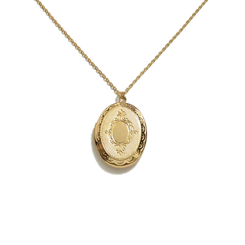Gold plated oval floral design locket necklace