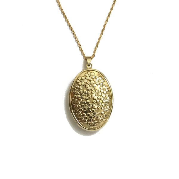 gold oval daisy floral locket necklace