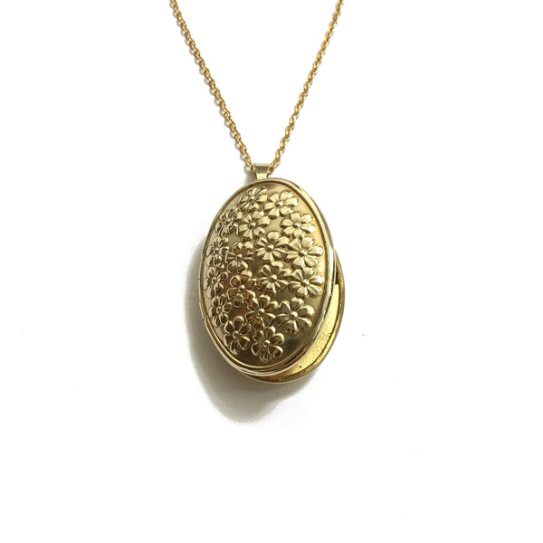 oval gold floral locket