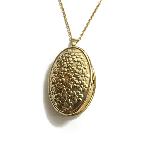 gold flower locket necklace