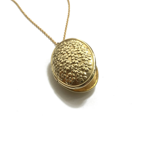 gold oval flower rose locket jewelry
