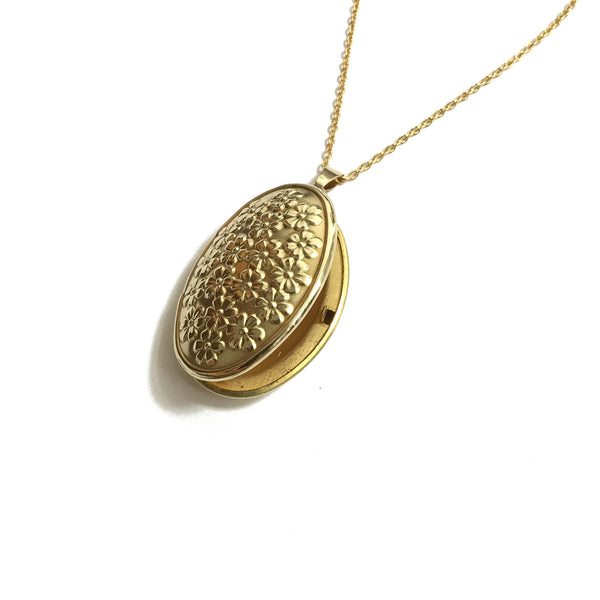 gold oval floral locket necklace