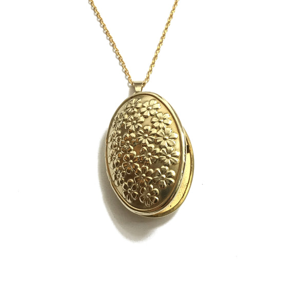 floral oval locket