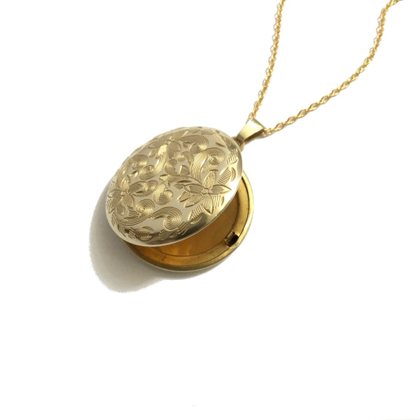 Round Floral Gold Plated Locket Necklace