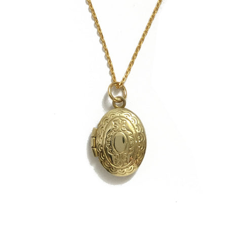 gold brass oval locket
