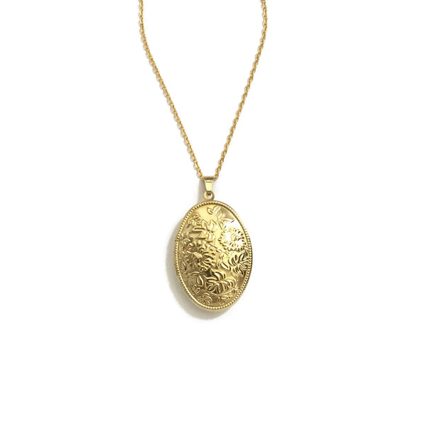 gold floral locket