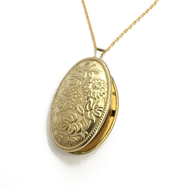 gold floral oval locket necklace