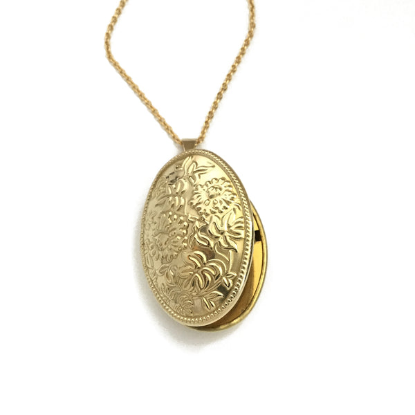 floral gold locket necklace