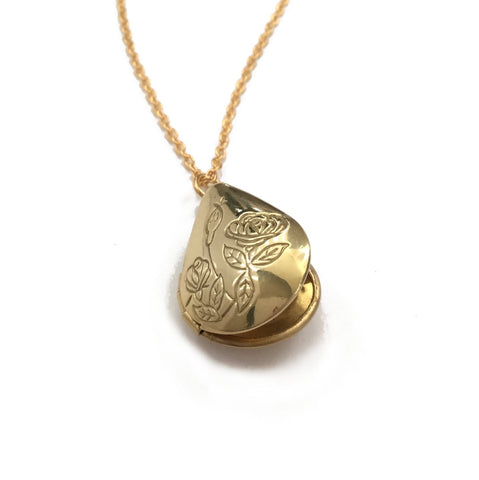 shiny gold brass teardrop locket