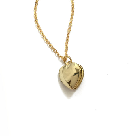 Simple Tiny Gold Heart Locket Necklace