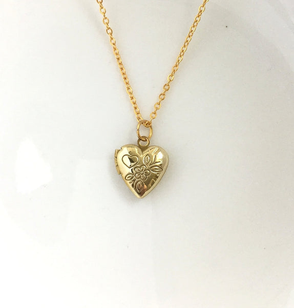 shiny gold heart locket necklace