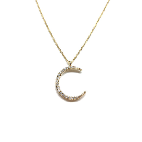 Gold plated cubic zirconia half moon necklace
