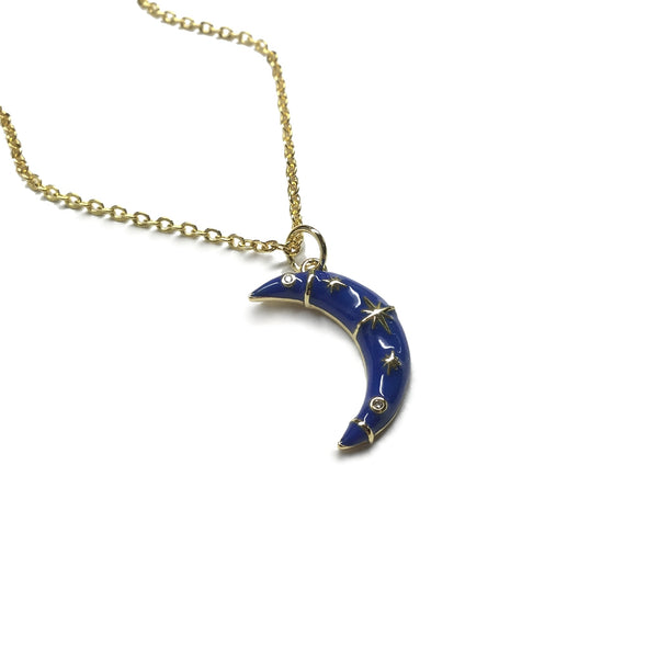 gold blue crescent moon stars cubic zirconia necklace