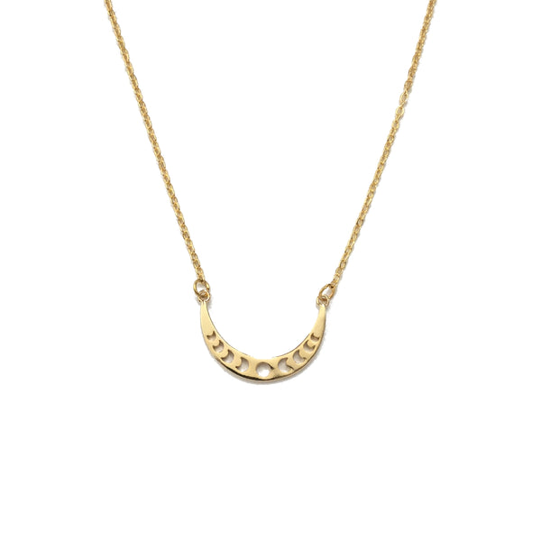 Celestial Moon Phase Gold Plated Necklace