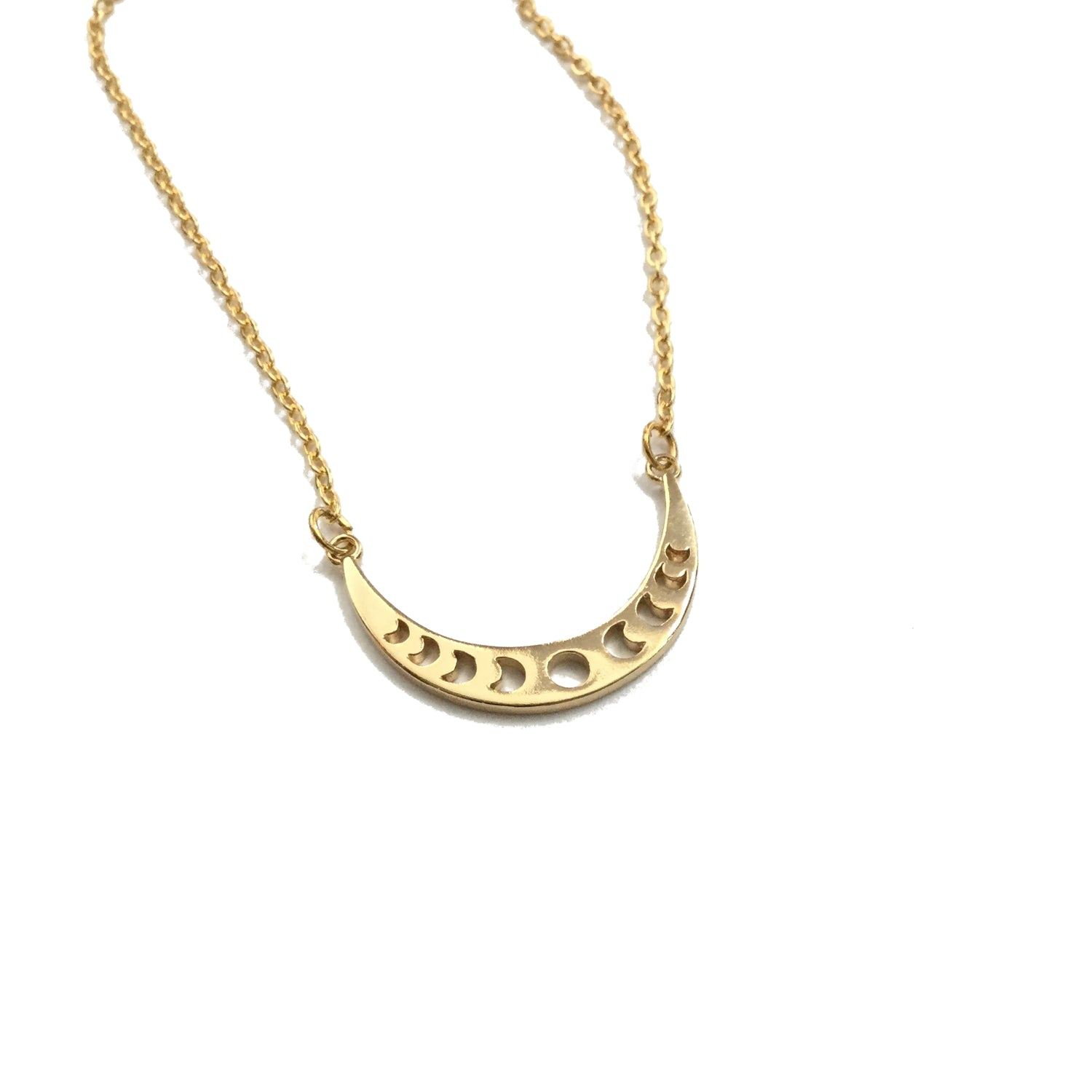 Gold plated moon phase necklace
