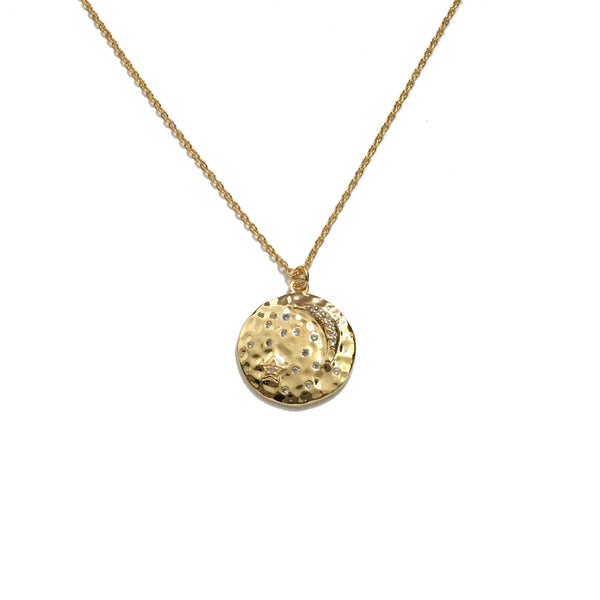 Gold plated crescent moon and cubic zirconia stars coin medallion necklace