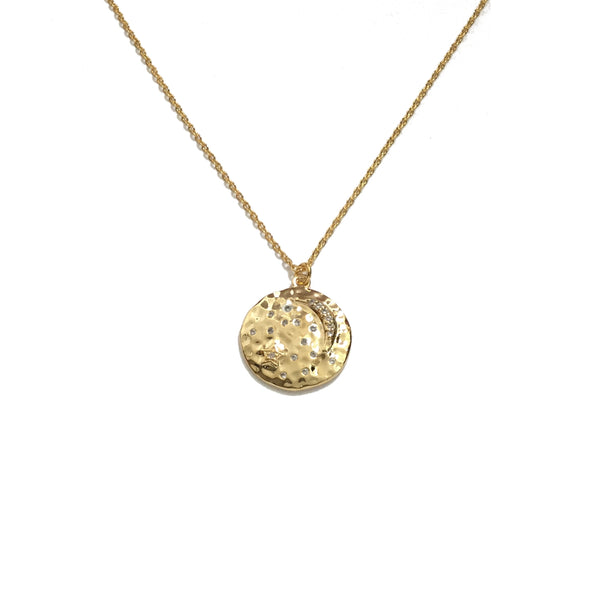 Moon and Stars Cubic Zirconia Medallion Necklace