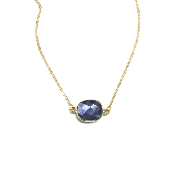 blue semi precious necklace