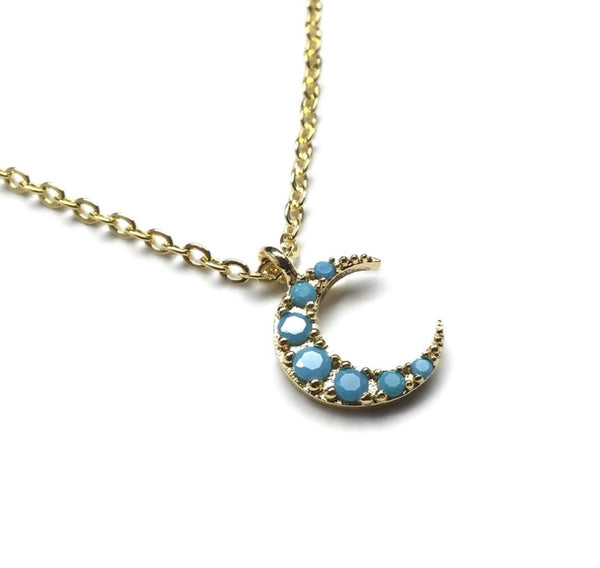turquoise crescent moon necklace