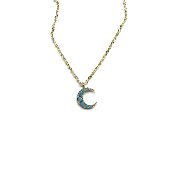 gold turquoise crescent moon charm necklace