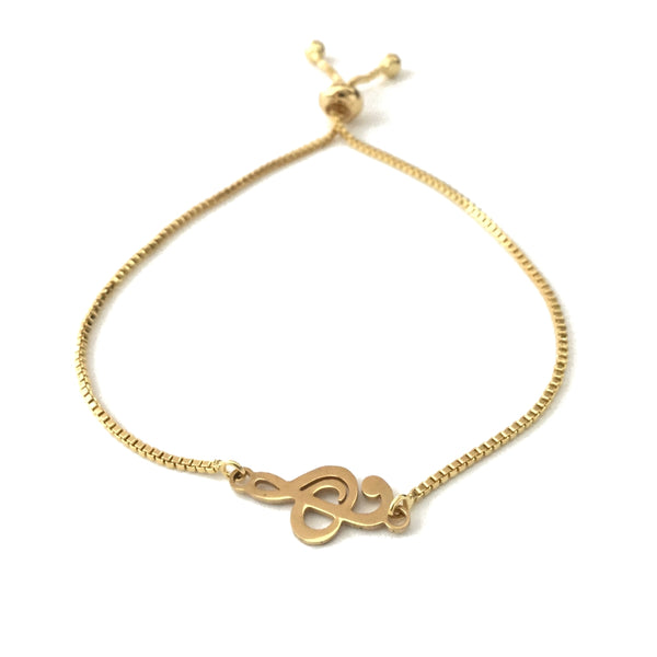 Gold stainless steel music note treble clef gold stainless steel adjustable box chain bracelet