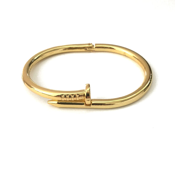 Gold plated nail bangle bracelet