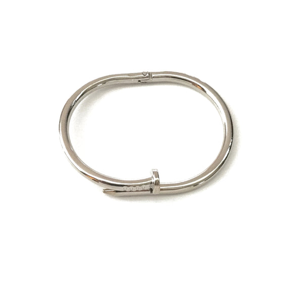 Silver plated nail bangle cuff bracelet