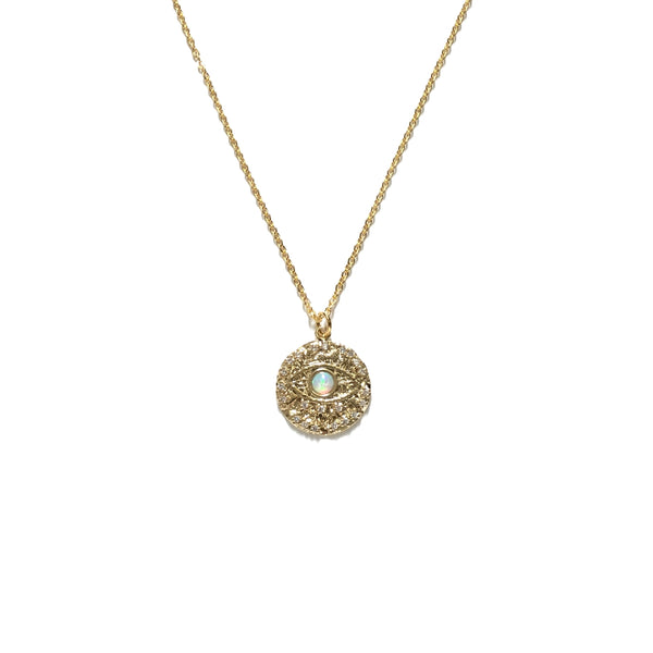 Gold plated cubic zirconia opal pendant necklace