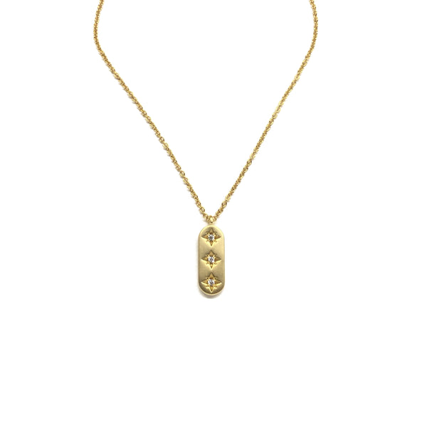 Gold North Star Cubic Zirconia Necklace