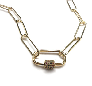 gold paperclip chain carabiner lock necklace