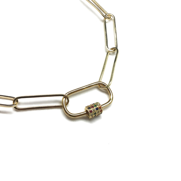 cubic zirconia carabiner paperclip chain necklace