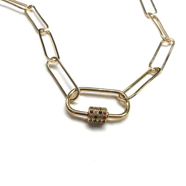 cubic zirconia oval carabiner paperclip necklace
