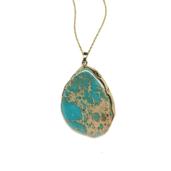 turquoise blue jasper semi precious necklace