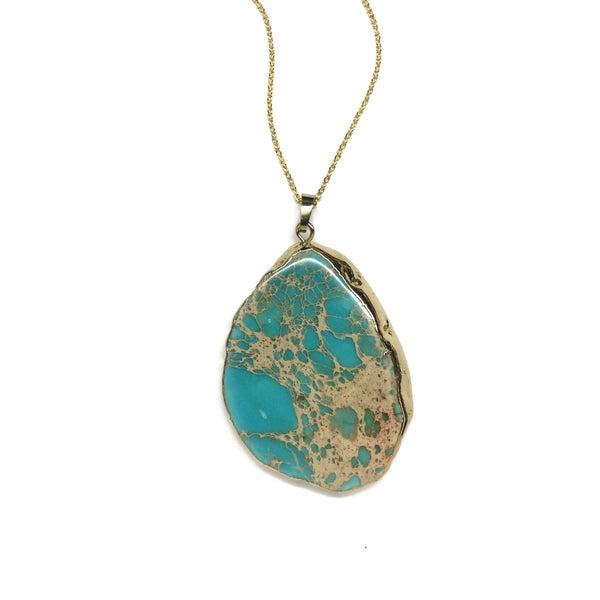 turquoise blue jasper gemstone necklace