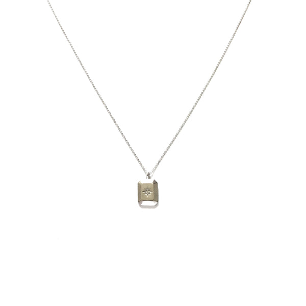 Silver plated rectangular north star with cubic zirconia pendant necklace