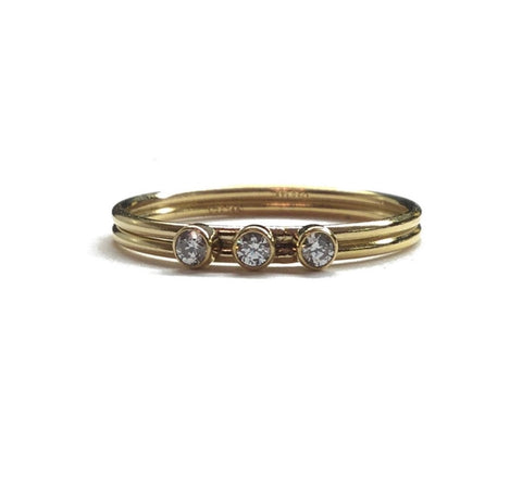 14k gold filled 3 cubic zirconia stone ring
