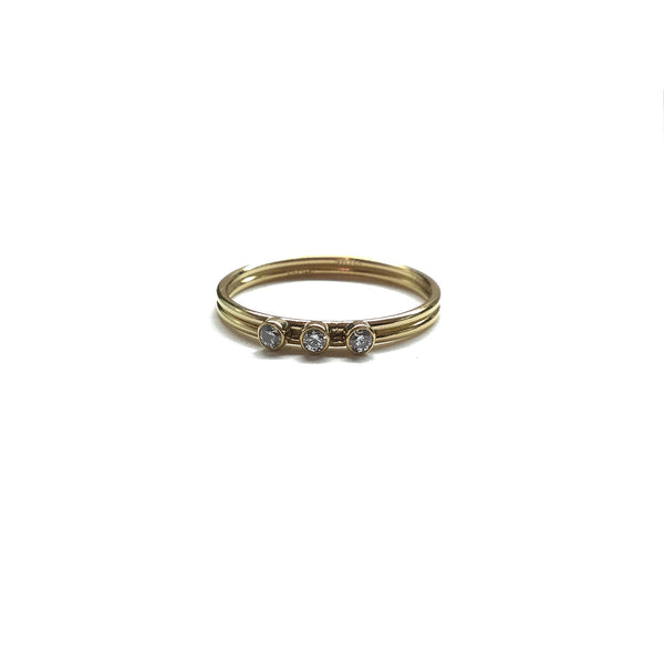 gold filled cubic zirconia stacking ring band