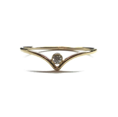 chevron 14k gold filled solitaire ring