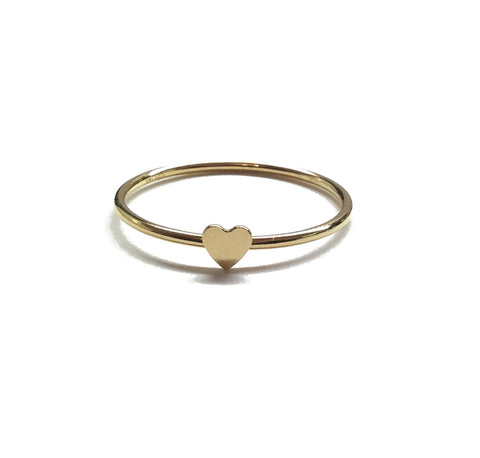 14k gold filled thin heart stacking ring