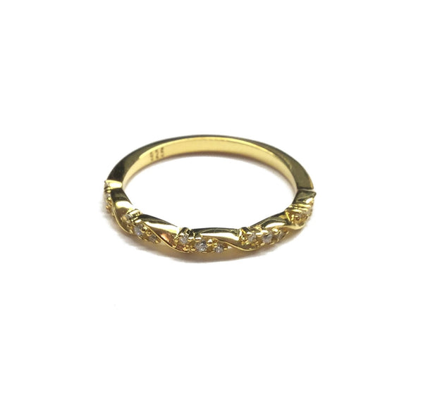 gold cubic zirconia wedding band