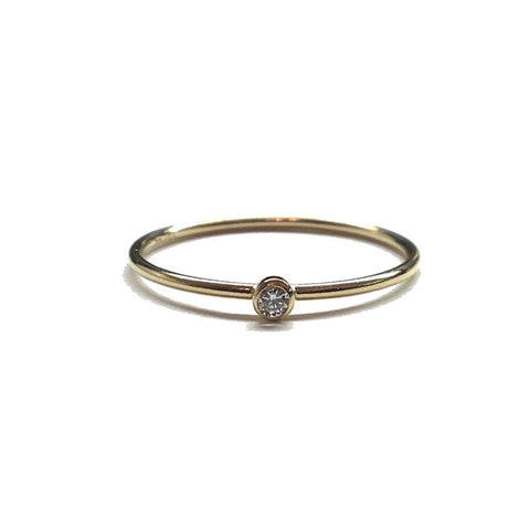 Dainty 14K Gold Filled Solitaire CZ Stacking Ring
