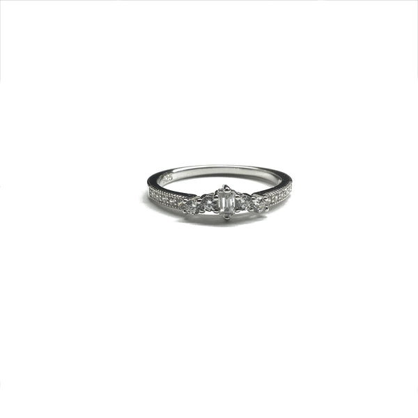 cz diamond baguette ring