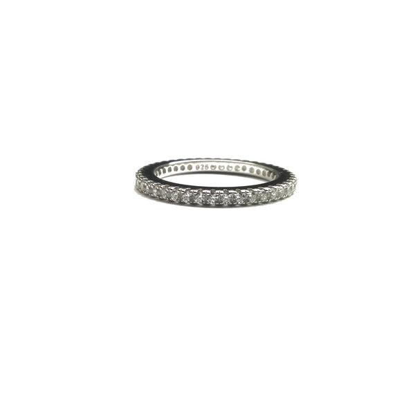 cz diamond sterling silver eternity wedding band