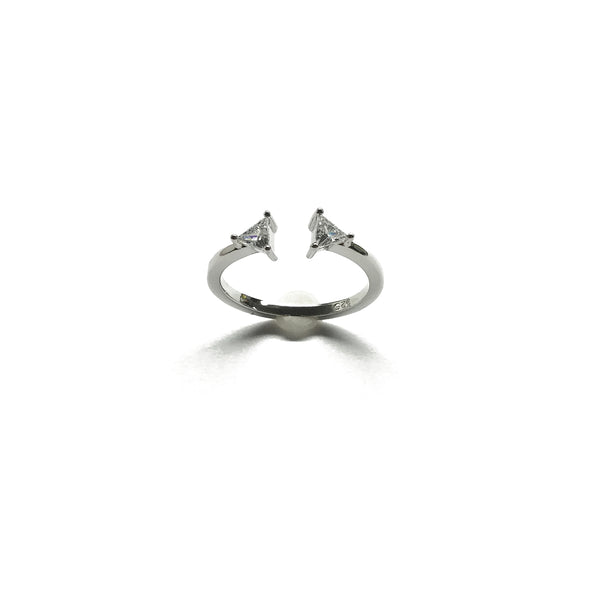 sterling silver cubic zirconia triangle ring