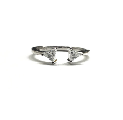cubic zirconia sparkly sterling silver stacking ring