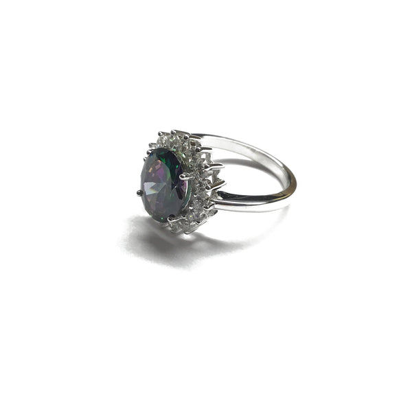 Sterling Silver Rainbow Topaz Ring