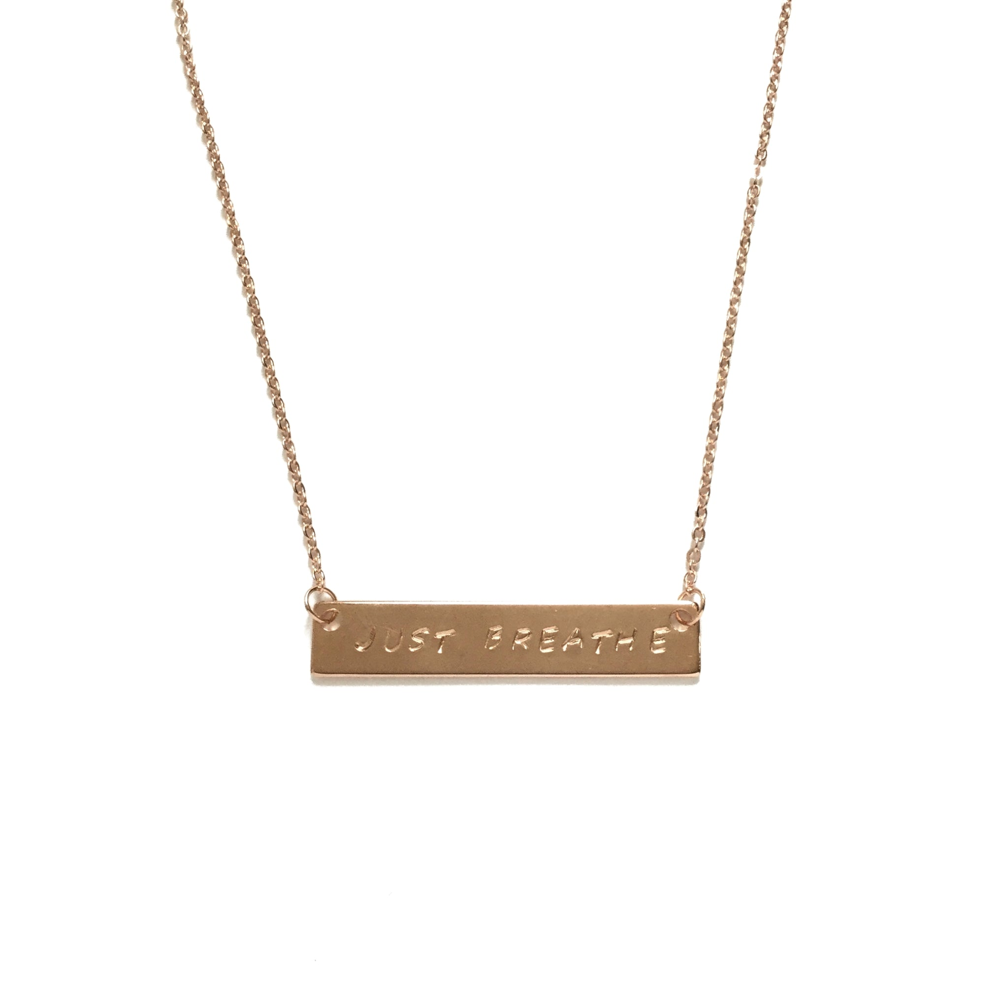 Rose gold plated inspiration quote personalized bar necklace