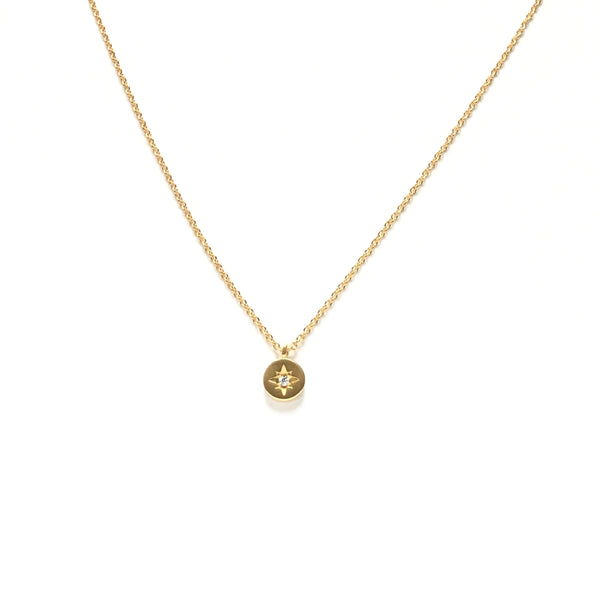 Tiny gold plated cubic zirconia star coin medallion necklace