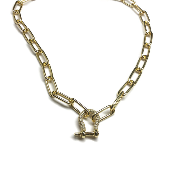 gold carabiner cubic zirconia paper clip chain necklace